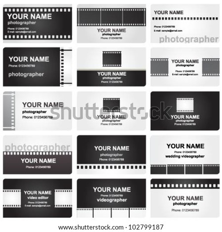 Vector business card set for photographers - stock vector