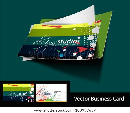 vector business card set with presentation design. - stock vector