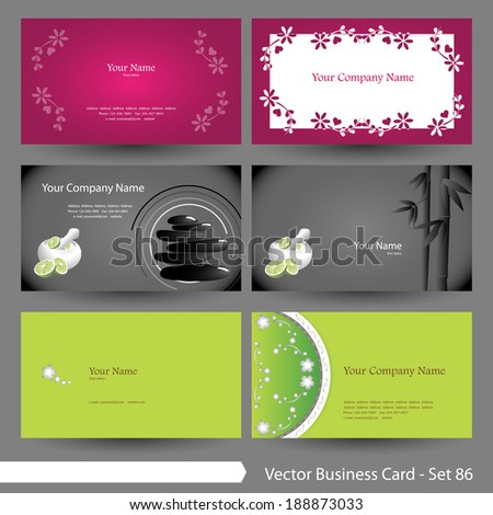 Vector business card template set: Clean, spa, floral and peace graphic design elements for cards & background (Part 86) - stock vector