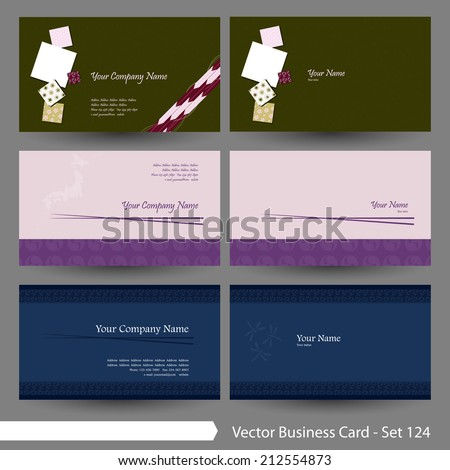 Vector business card template set: Japanese, oriental and Kimono pattern graphic design elements for cards & background (Part 124) - stock vector