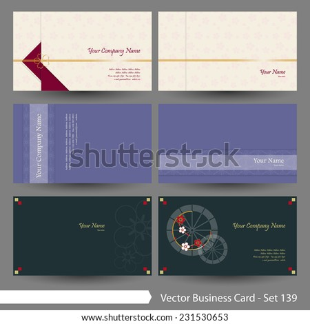 Vector business card template set: Japanese, oriental and Kimono pattern graphic design elements for cards & background (Part 139) - stock vector