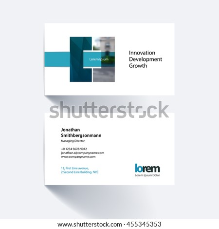 Vector business card template with geometric shape and overlap effect for business books with industrial and science concept. Simple and clean design. Creative corporate identity layout. - stock vector