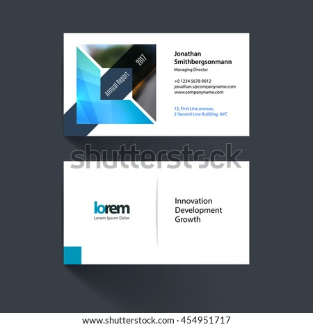 Vector business card template with triangles geometric shape and overlap effect for business books with industrial and science concept. Simple and clean design. Creative corporate identity layout. - stock vector