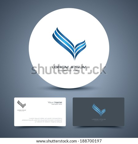 Vector business card template with universal icon logo. - stock vector