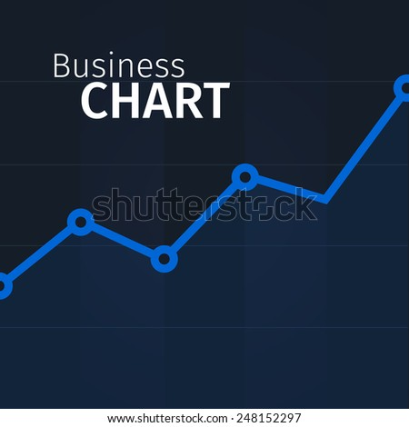 Vector business chart illustration for design, blue line on black background - stock vector