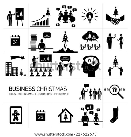 Vector business Christmas icons set of people in different funny situations in office | flat design black pictograms illustration and infographics isolated on white background - stock vector