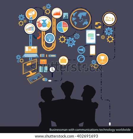 Vector Business communications technologies worldwide - stock vector