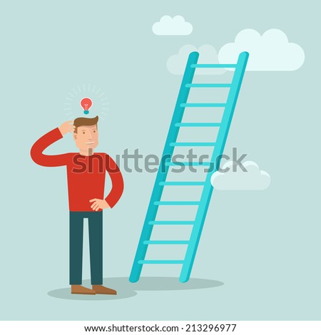 Vector business concept in flat style - male character solving problem how to improve career and achieve success - stock vector
