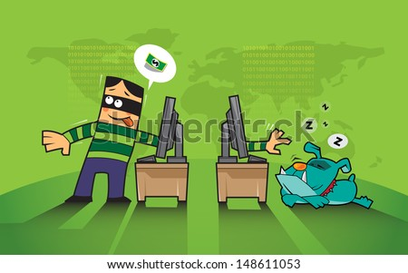 vector business concept protects hacker, phishing hacking internet social network - stock vector