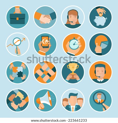 Vector business concepts in flat style - bright illustrations on round backgrounds - stock vector