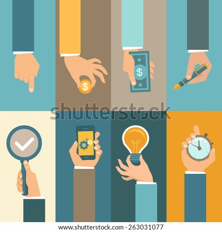 Vector business concepts in flat style - hands icons - stock vector