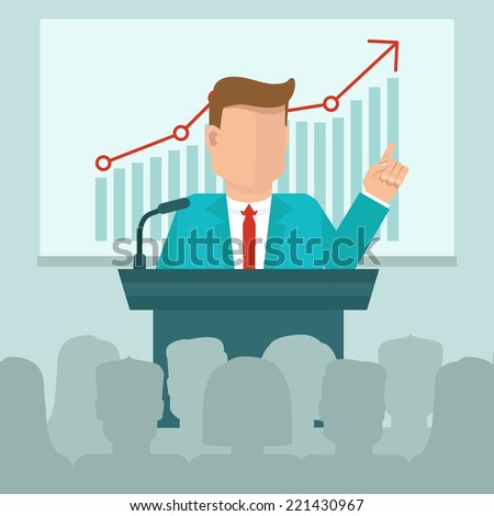 Vector business conference concept in flat style - man speaking in front of presentation screen with graph - stock vector