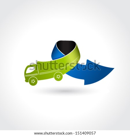 Vector business delivery symbol, transport icon, truck with arrow - stock vector