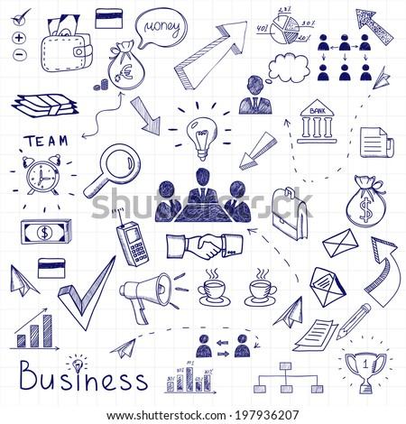Vector business doodles seamless pattern background with diagrams, humans and ideas bulbs - stock vector