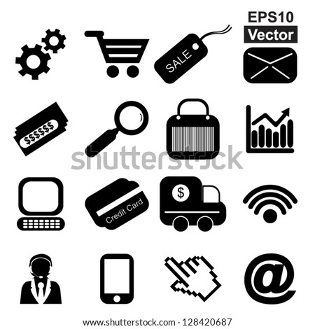 Vector : Business E-Commerce and Online Shopping Concept Present By Online Shopping Icon Set Isolated on White Background - stock vector
