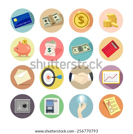 Vector business flat icon set - stock vector