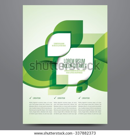 Vector business flyer, poster, brochure, magazine cover template. Modern green leaf, environment design. - stock vector