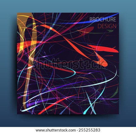vector business flyer template or corporate banner design with neon lights on a dark background  - stock vector