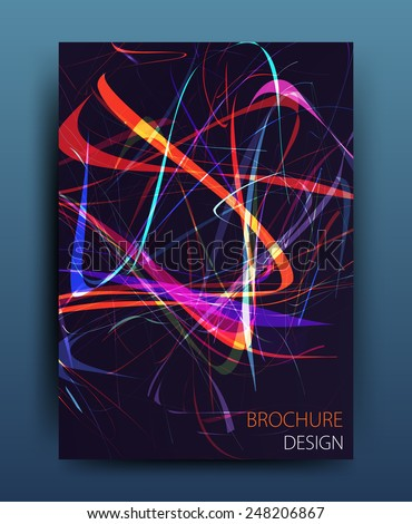 vector business flyer template or corporate banner design with neon lights on a dark background in A4 size - stock vector