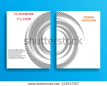Vector Business Flyer Template or Corporate Design . Brochure Design Template . Abstract Modern Background . Unusual Halftone Dots on White Background .  - stock vector