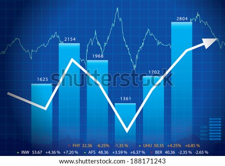 Vector  Business graph with arrow showing profits and gains Abstract of financial stock data Stock  - stock vector