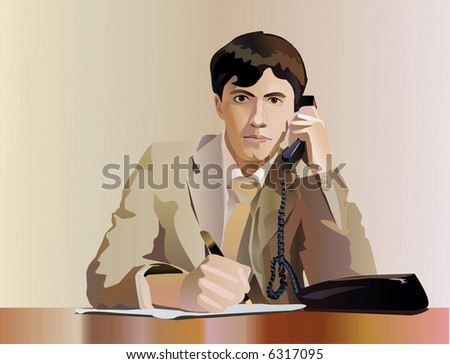 Vector business Illustration:Portrait of a businessman. - stock vector
