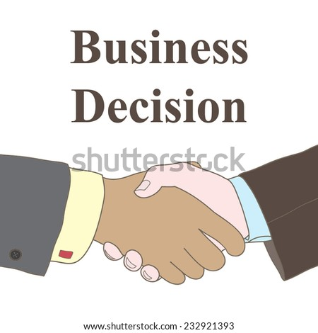 Vector business illustration with handshake and sample text - stock vector