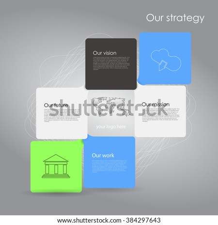Vector business infographic with cube bubbles / mission, vision, future and strategy motive or theme on dark background - stock vector