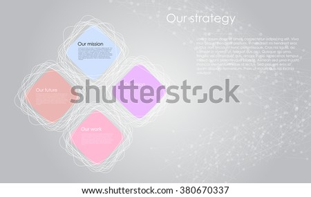 Vector business infographics with cube bubbles and flat line sacred geometry / mission, vision, future and strategy motive or theme on dark background - stock vector