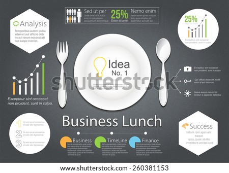 Vector Business lunch with illustration of business plan of business strategy on dark table. - stock vector