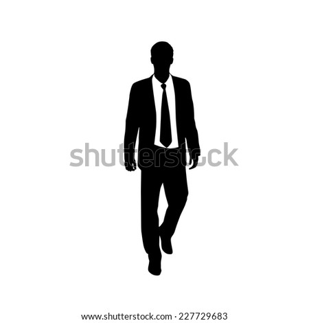 vector business man black silhouette walk step forward full length over white background wear suit and tie vector illustration - stock vector