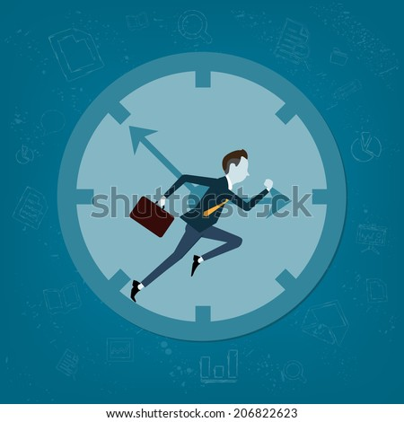Vector business man competitive with business time background - stock vector