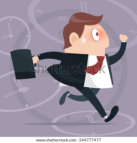 Vector business man competitive with businessman time background - stock vector