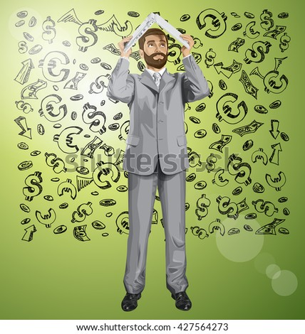 Vector business man with beard hides under the laptop in his hands against money sketch - stock vector