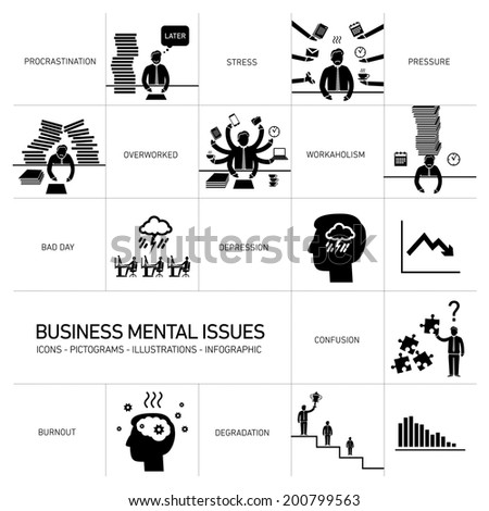 vector business mental issues icons set of depressed and stressed managers | black modern flat design illustrations separated on white background - stock vector