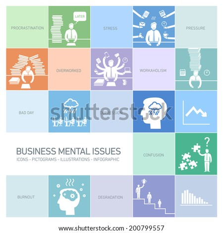 vector business mental issues icons set of depressed and stressed managers | modern flat design illustrations separated on colorful background - stock vector