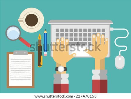 Vector business office workplace. Flat illustration - stock vector