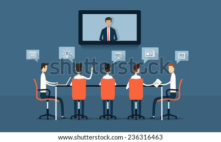 vector business on line conference and communication meeting brainstorm - stock vector