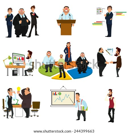 Vector business people in flat style. Meeting, workplace, signing of a contract, business negotiations, conference and presentation. - stock vector