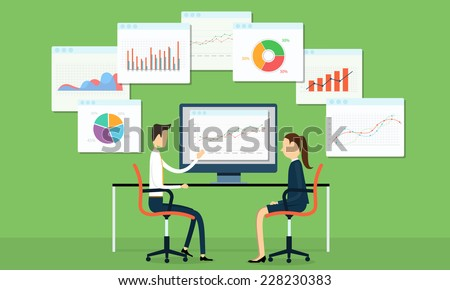 Vector business people on marketing graph - stock vector