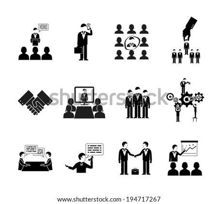 vector business peoples silhouettes, teamwork and meetings icons - stock vector