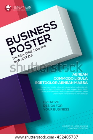 Vector Business poster. Flyer template. Poster for your business. Cover presentation - stock vector