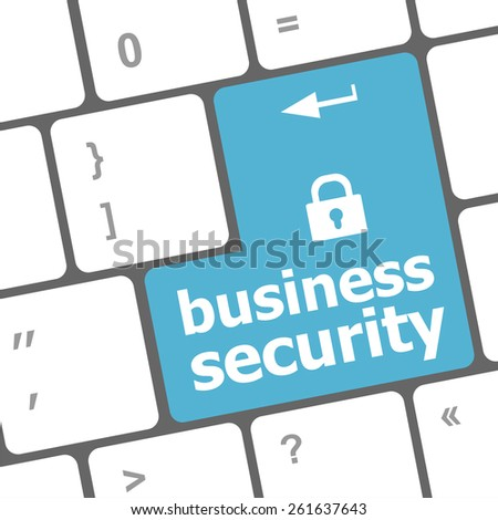 vector business security key on the keyboard of laptop computer - stock vector