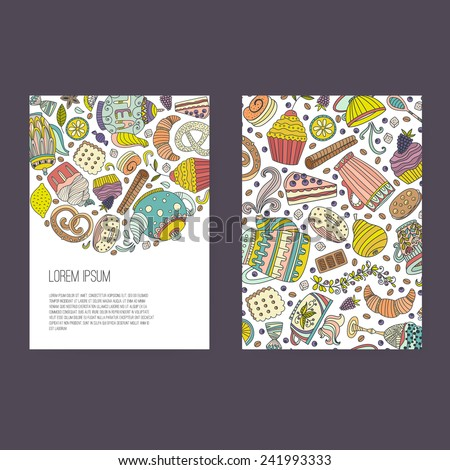 Vector business set template with cute hand drawn dessert illustrations. Restaurant or cafe branding elements. Flyer design with cupcakes and sweets.  - stock vector