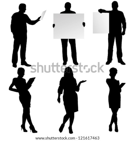 vector business silhouette - stock vector