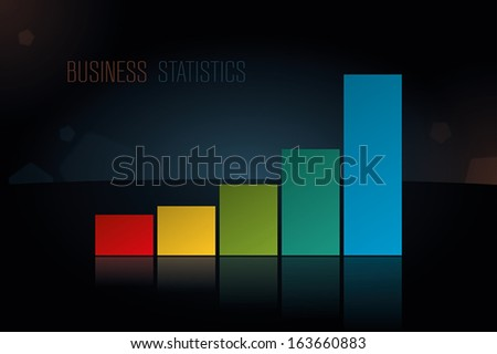 Vector business statistics on reflective surface for presentations and reports - stock vector