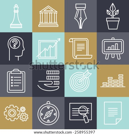 Vector business strategy in linear style - lawyer and document signs - stock vector