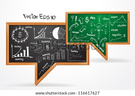 Vector Business strategy plan concept, drawing on speech bubble of chalkboard - stock vector