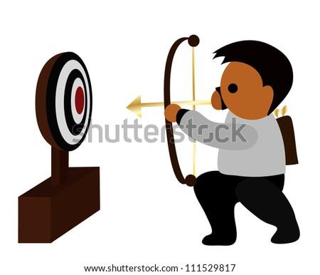 Vector - Business target.He shoot arrows into targets. - stock vector