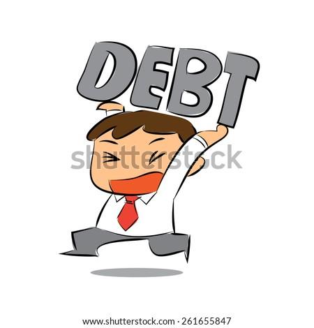 Vector Businessman Carrying Debt Over Head - stock vector